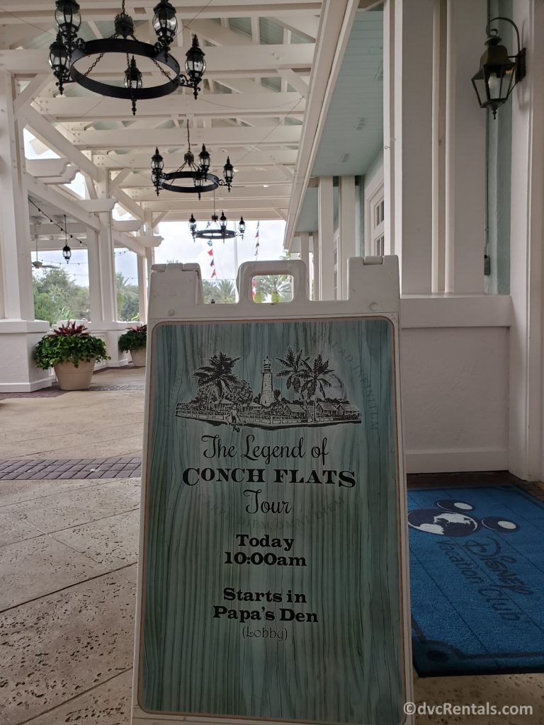 Sign for the Legends of Conch Flats Tour at Disney's Old Key West