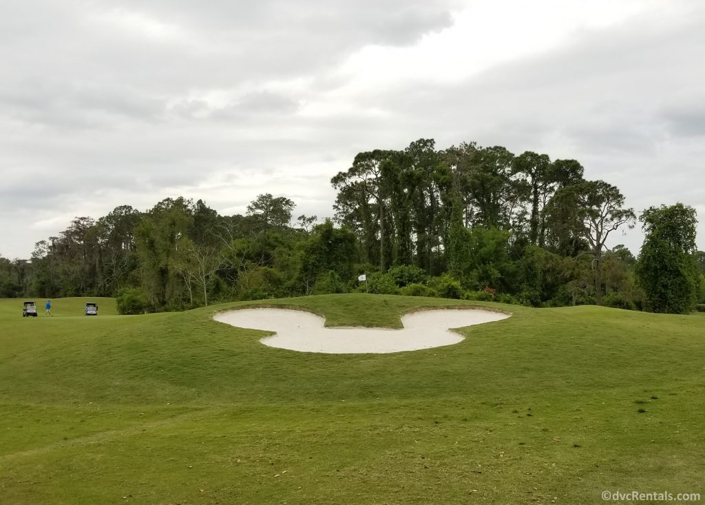 Mickey Mouse Shaped sand trap on the golf course