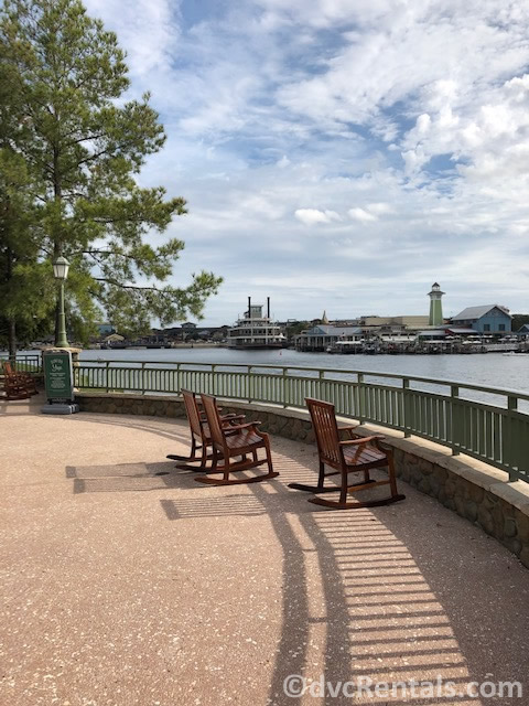 Rocking chairs at Disney's Saratoga Springs looking out at Disney Springs