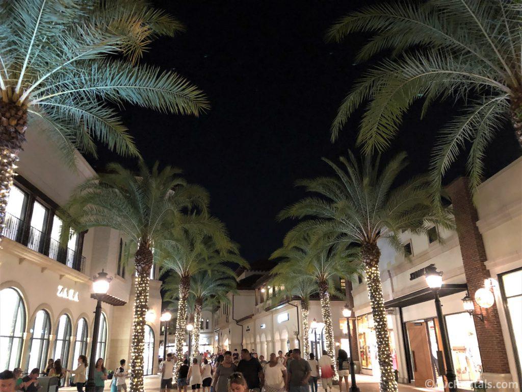 evening shot of Disney Springs