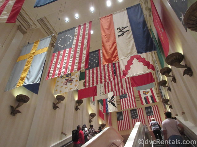 Flags in the American Pavilion at Epcot