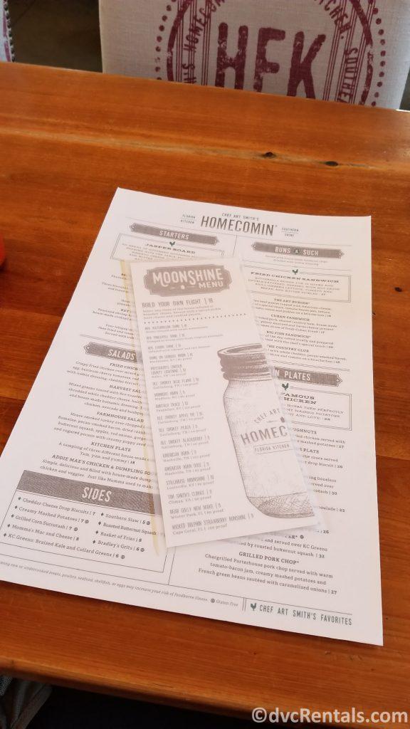 Chef Art Smith's Homecomin' menu