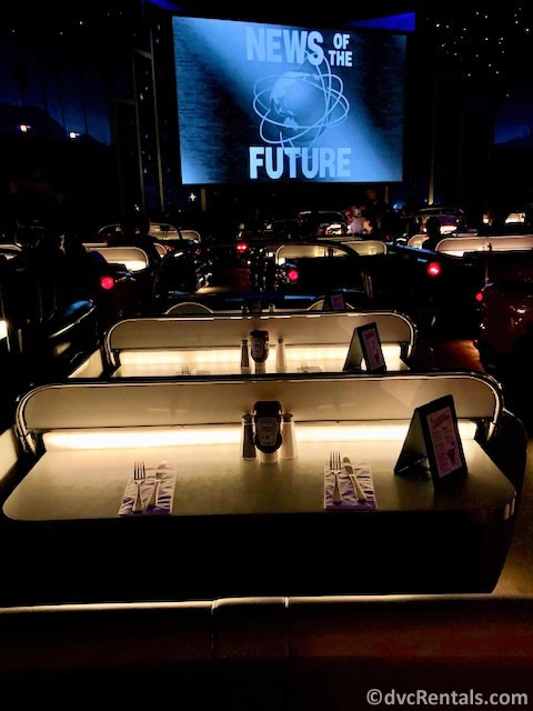 Car style table at Sci-Fi Dine-In Theater