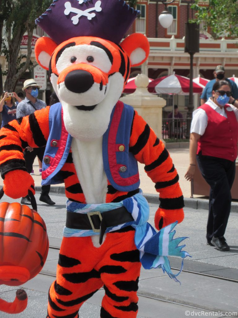 Tigger dressed as a pirate in a Halloween Themed Character Cavalcades at the Magic Kingdom