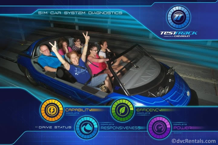 Blog writer Marilyn riding Test Track at Epcot