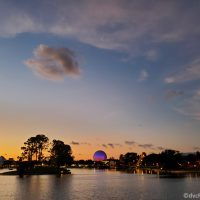 Geosphere and sunset at Epcot