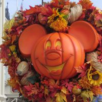 Mickey Head shaped Halloween Wreath at the Magic Kingdom