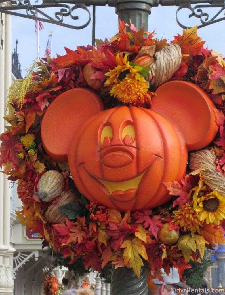 Mickey Head shaped Halloween Wreath at the Magic Kingdom