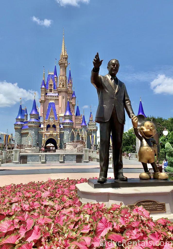 Cinderella Castle and Partners Statue at the Magic Kingdom