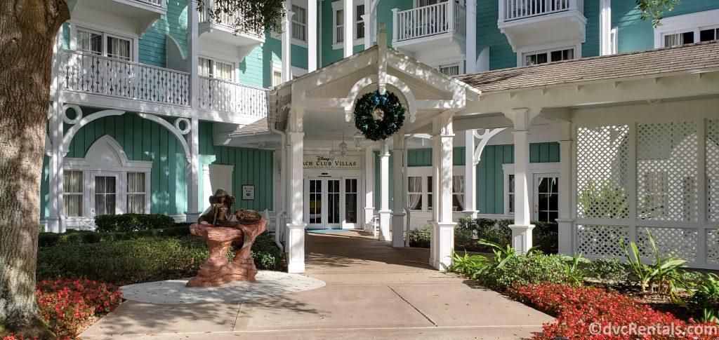 entrance to Disney's Beach Club Villas with Christmas wreath