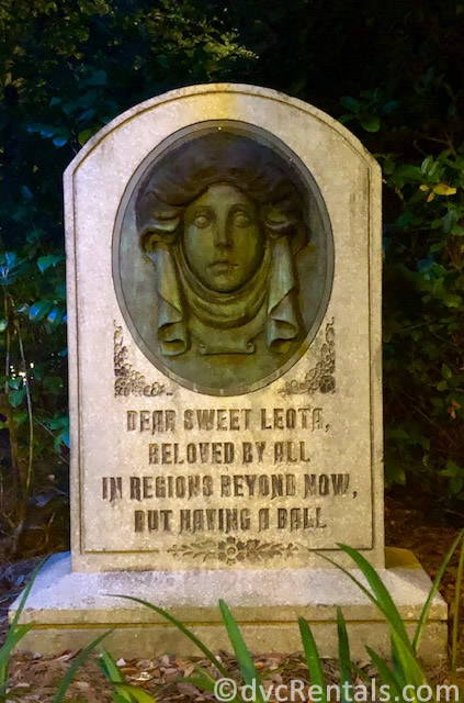 Madame Leota's tombstone at the Haunted Mansion in the Magic Kingdom