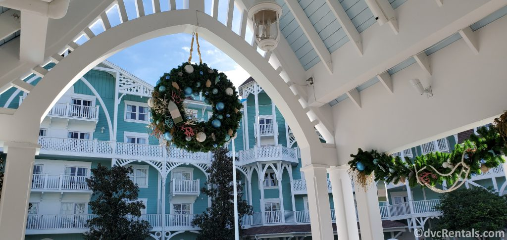 Christmas Wreath at the pool at Disney's Beach Club Villas