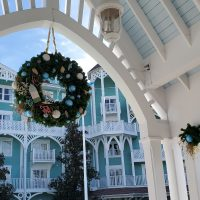 Christmas Wreath at the pool at Disney's Beach Club Villas