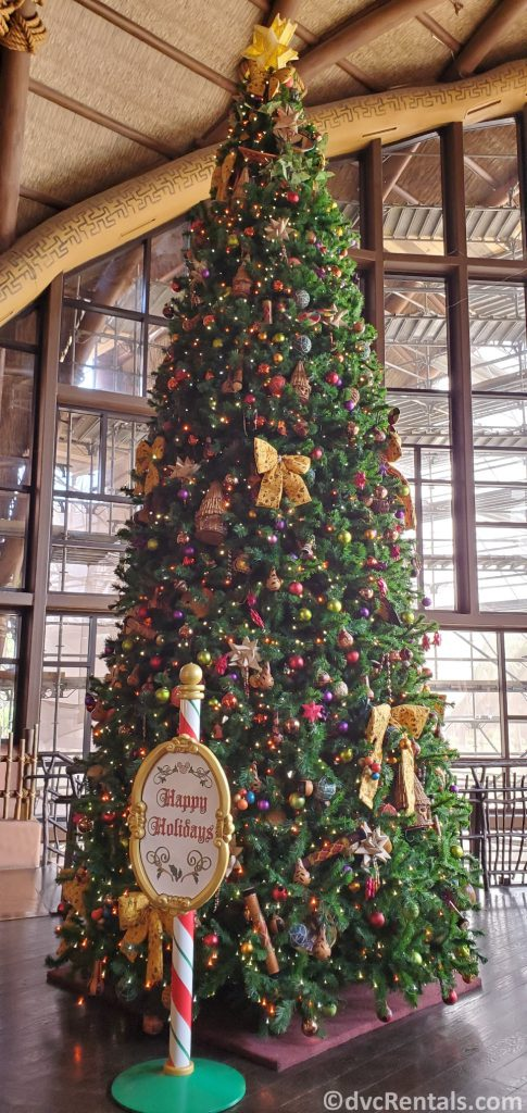 Christmas tree at Disney's Animal Kingdom Villas – Kidani Village