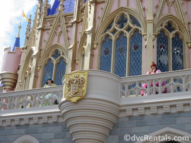 Evil Stepsisters on the balcony of Cinderella Castle