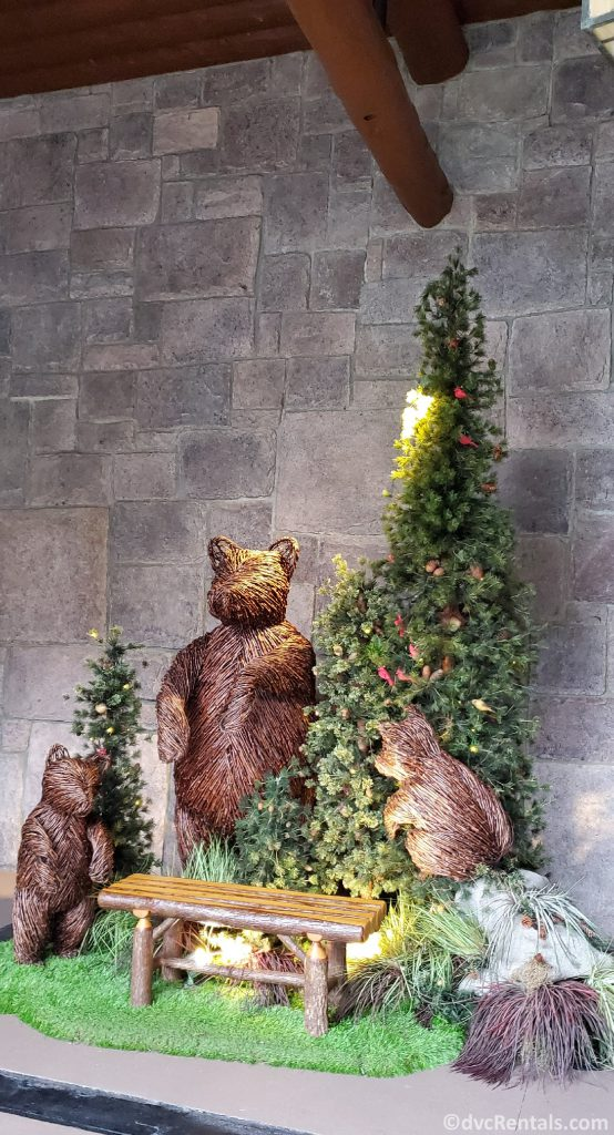 Christmas bear display at Copper Creek Cabins and Villas at Disney's Wilderness Lodge