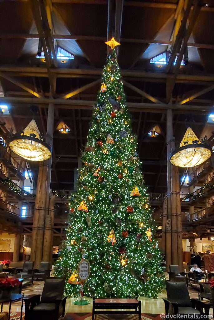 Christmas tree at Copper Creek Cabins and Villas at Disney's Wilderness Lodge