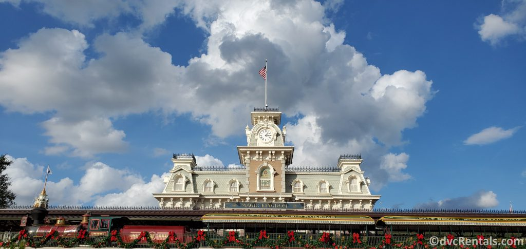 Magic Kingdom Train Station with Christmas Decorations