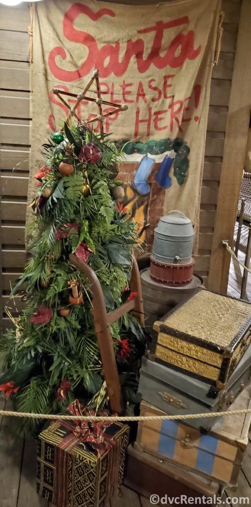 Christmas tree in the Jungle Cruise at the Magic Kingdom