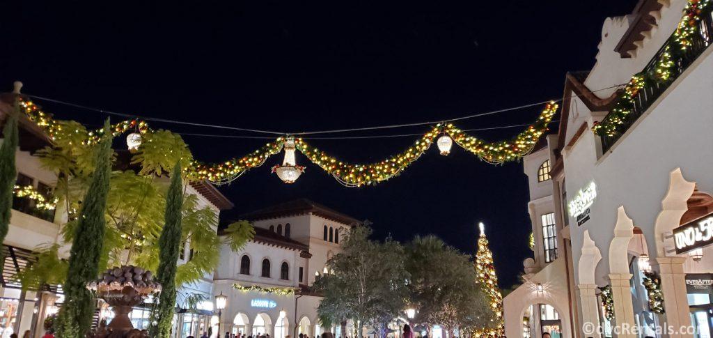 Christmas lights at Disney Springs