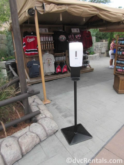 Hand sanitizing station in the WDW theme parks