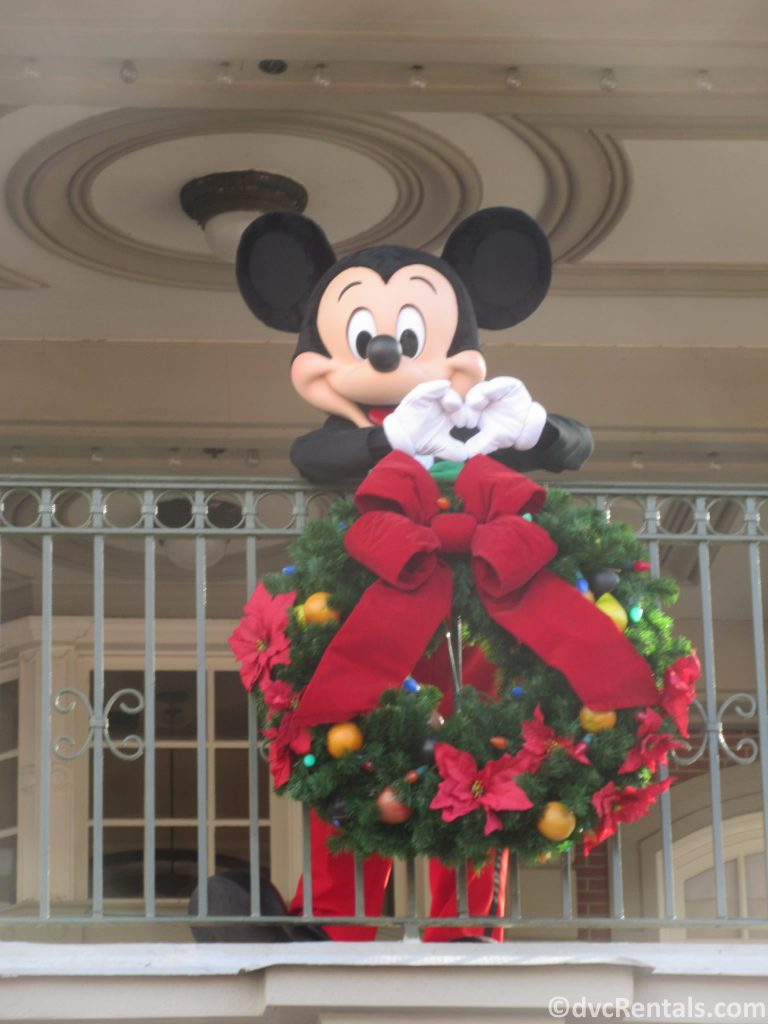 Mickey Mouse dressed in his Christmas clothes