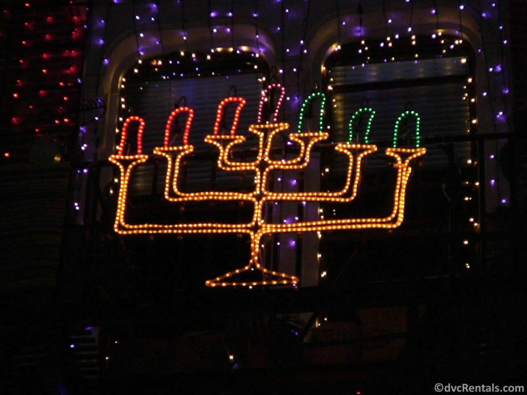 menorah as part of the Osborne Lights at Disney's Hollywood Studios