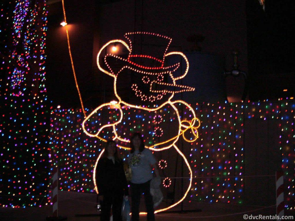 Hidden Mickey Snowman within the Osborne Lights at Disney's Hollywood Studios