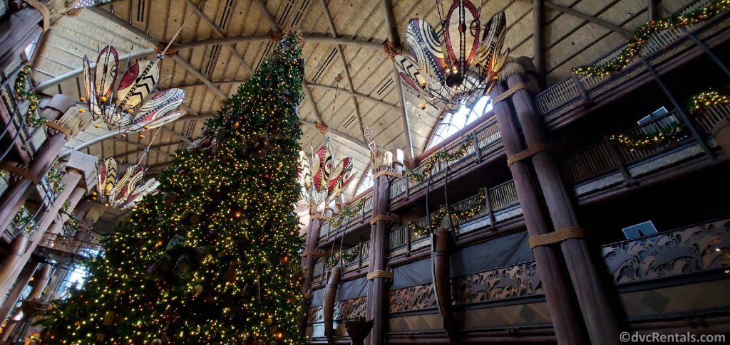 Jambo House lobby with Christmas Tree
