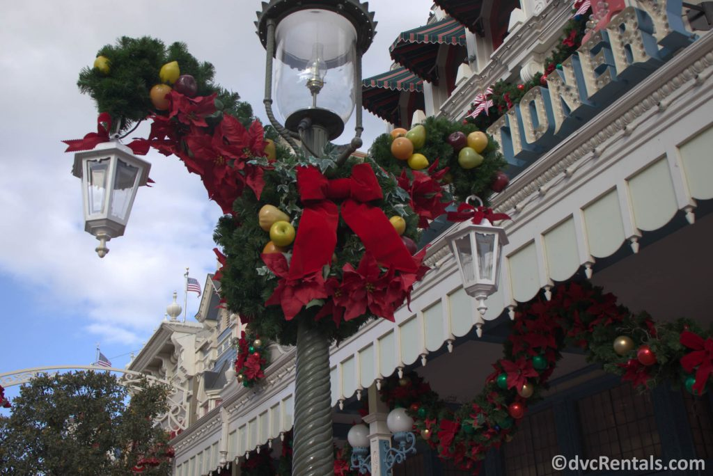 Holiday decorations on Main Street USA