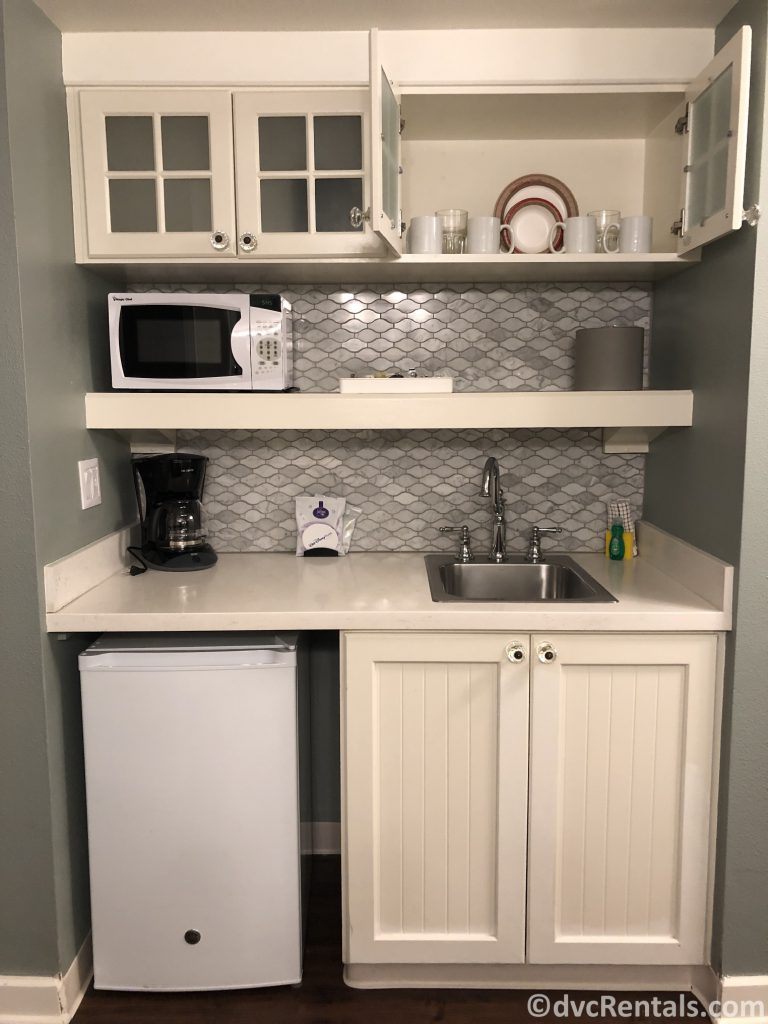 kitchenette in a studio at Disney's Boardwalk Villas