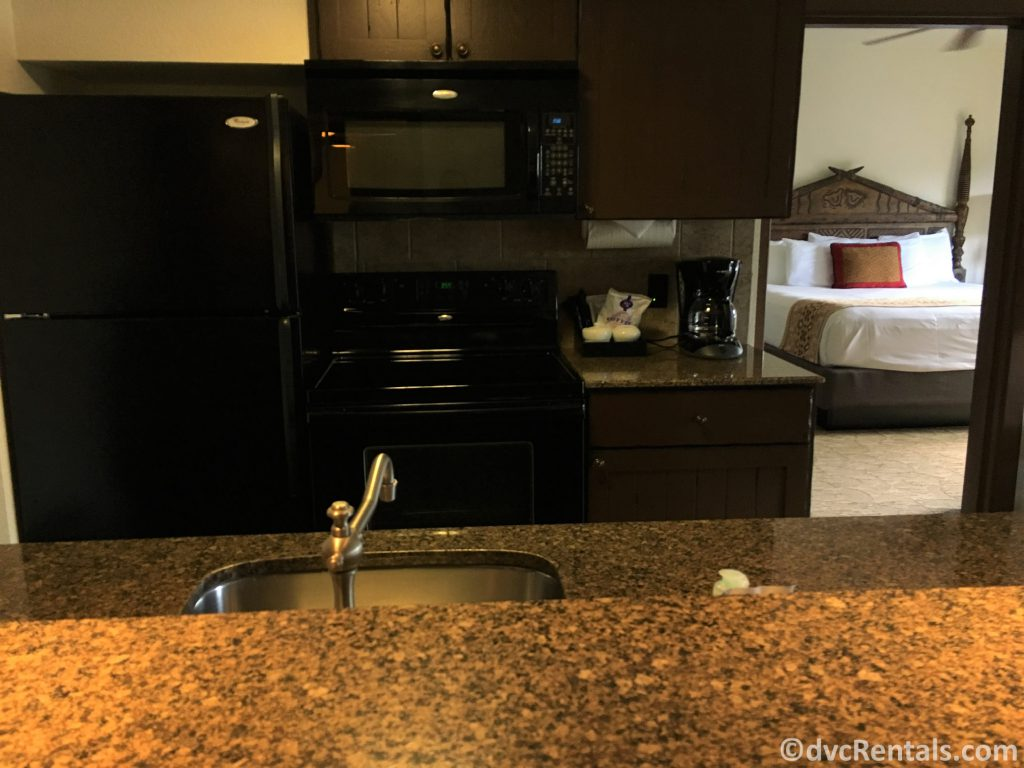 full size kitchen in a 1 bedroom villa at Disney's Animal Kingdom Villas