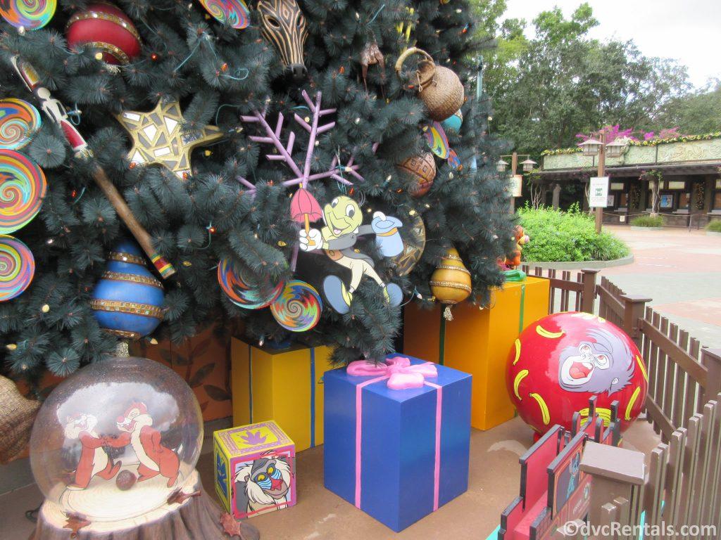 Holiday decorations at Disney's Animal Kingdom