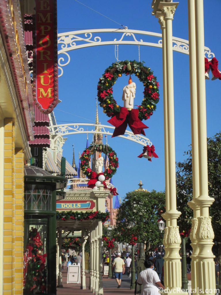 Holiday decorations at the Magic Kingdom
