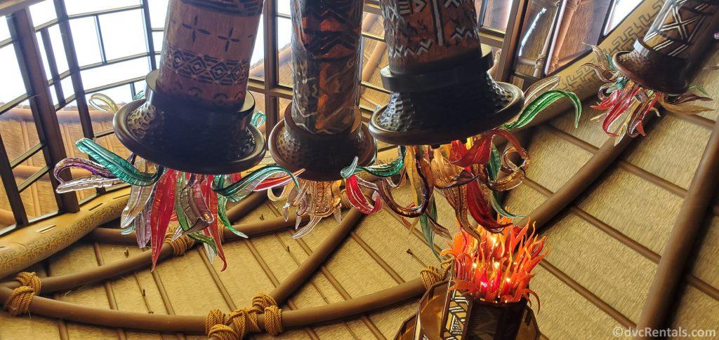 chandeliers in the Kidani Village lobby