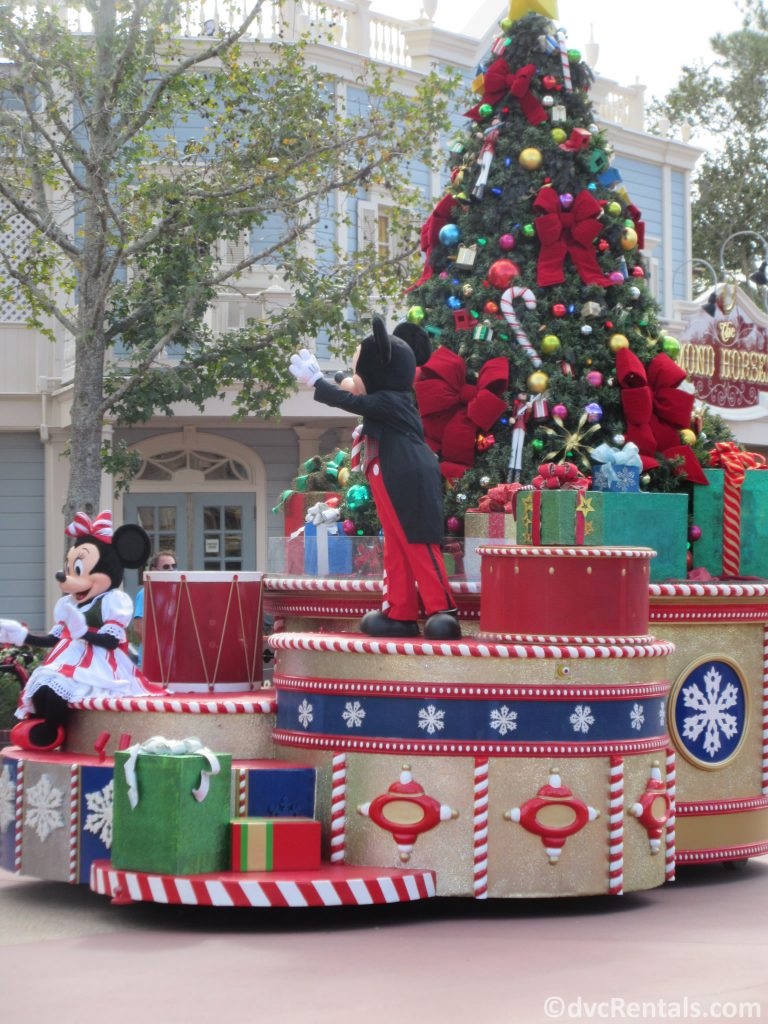 Mickey and Minnie Mouse in the holiday Cavalcade