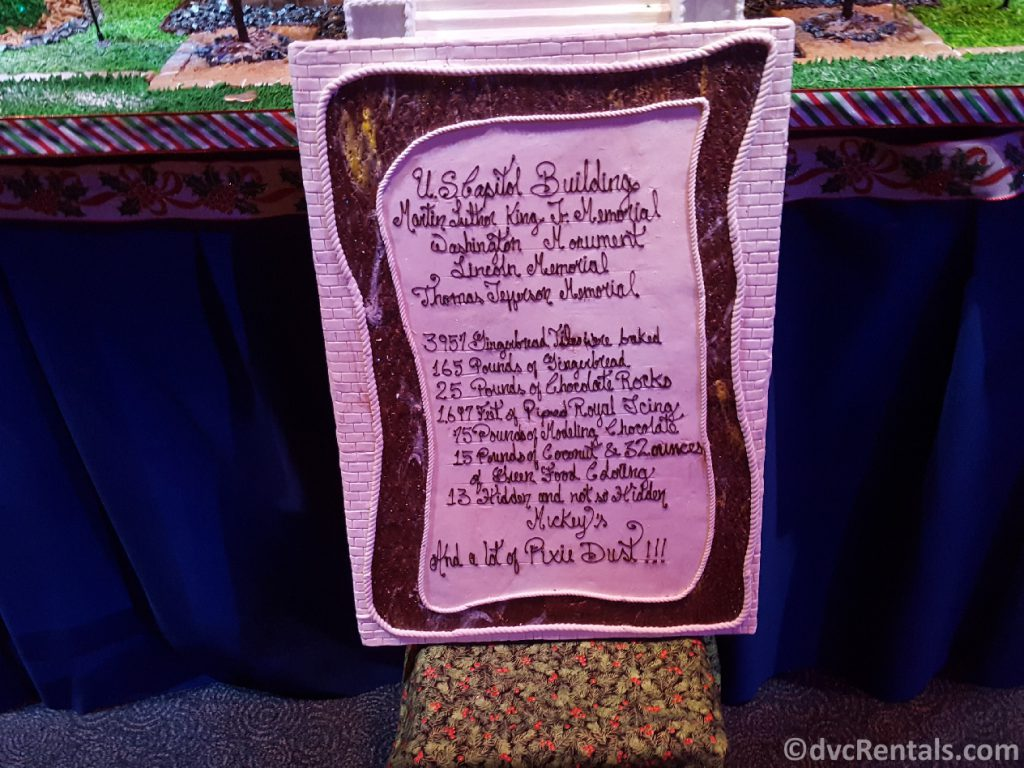Ingredient list for the Gingerbread display at Epcot