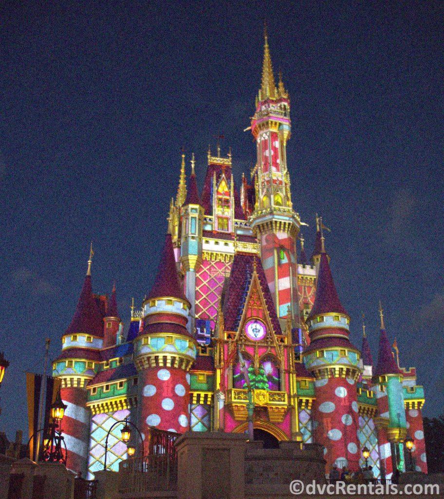 Cinderella Castle with holiday themed projections