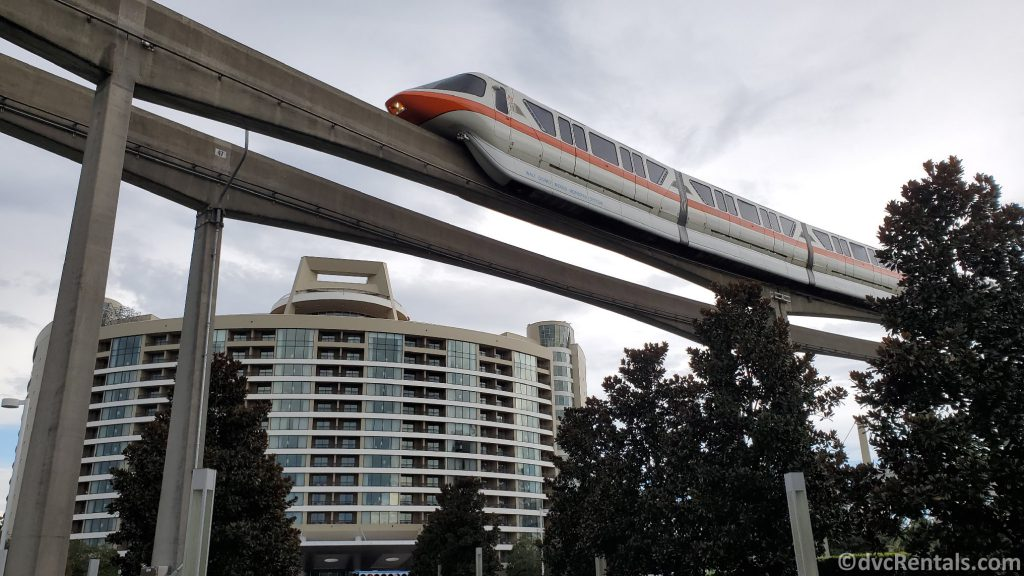 Monorail passing by Disney's Bay Lake Tower