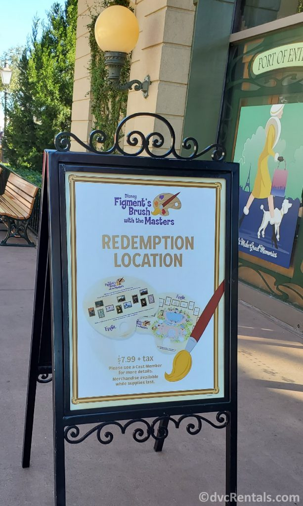 Sign for Figment's Brush with the Masters Scavenger Hunt from the Taste of Epcot International Festival of the Arts