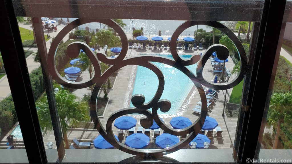Hidden Mickey in the window design at Disney's Riviera Resort