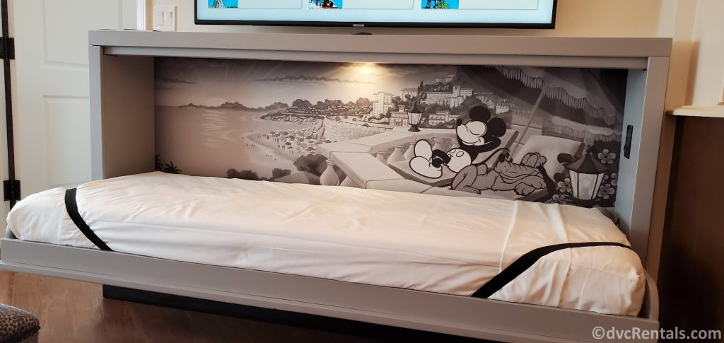 Pull-down bed with a Mickey Mouse Background at Disney's Riviera Resort