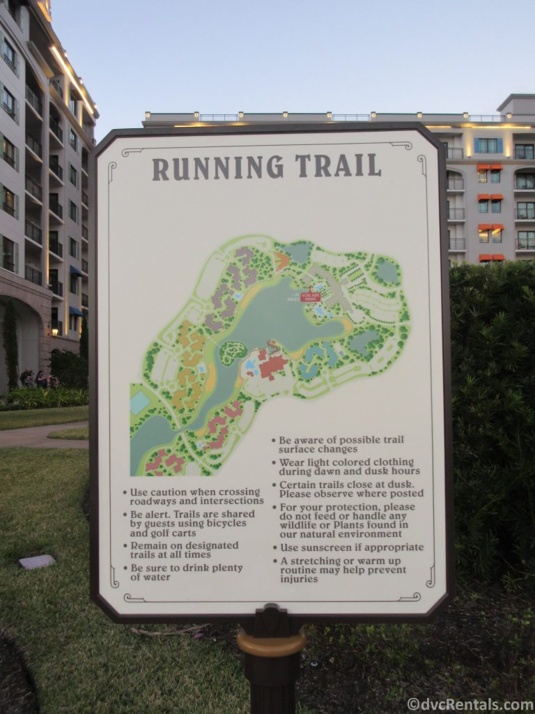 Map with jogging trail at Disney's Riviera Resort