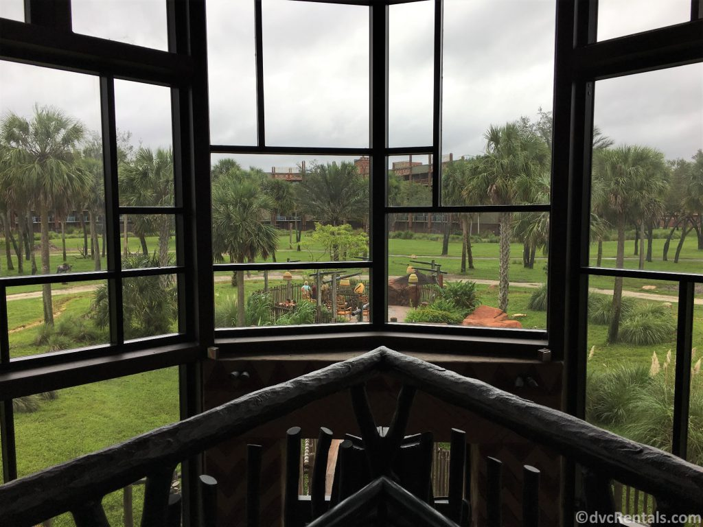 large picture window in the lobby of Disney's Animal Kingdom Villas – Kidani House