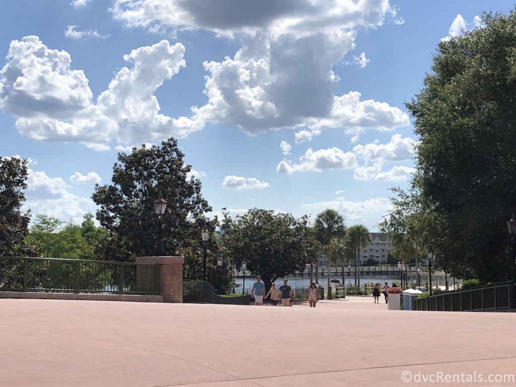 walking path from Epcot to Disney's Boardwalk Villas and Disney's Beach Club Villas