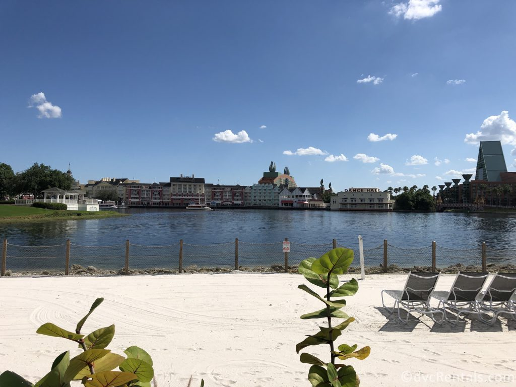 view of Disney's Boardwalk Villas while standing on the beach at Disney's Beach Club Villas