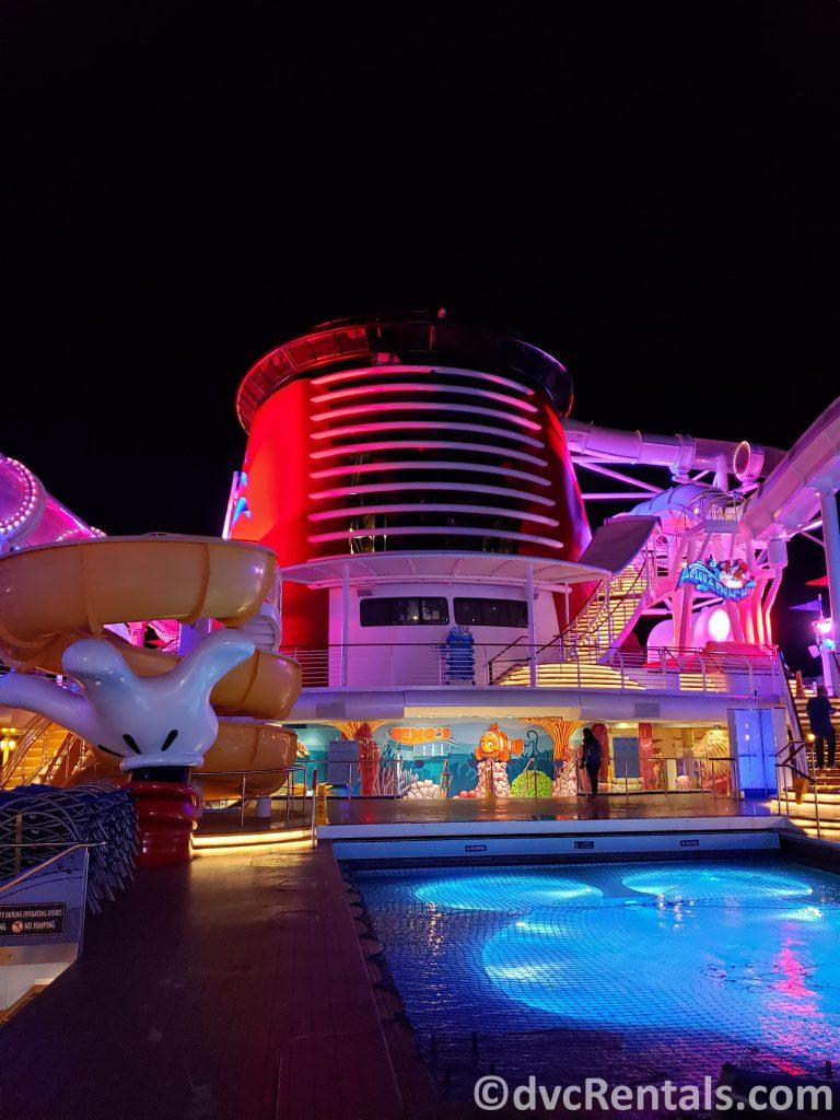 Disney Dream waterslide at night