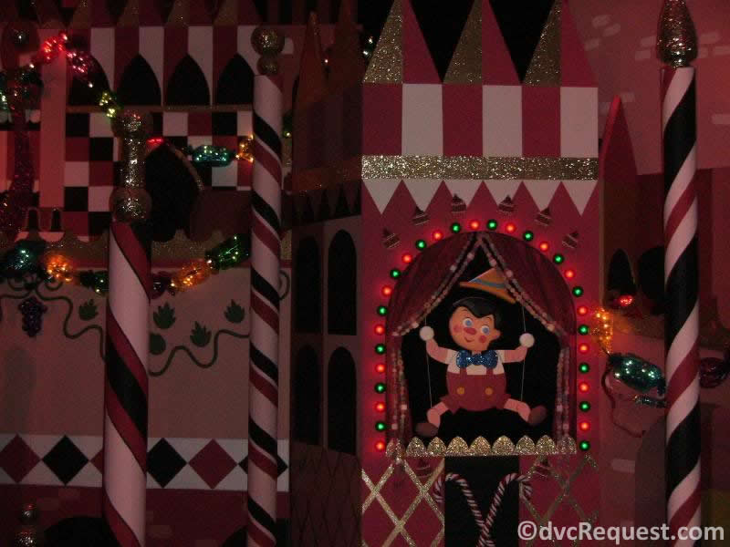 Holiday lights on It's a Small World in Disneyland