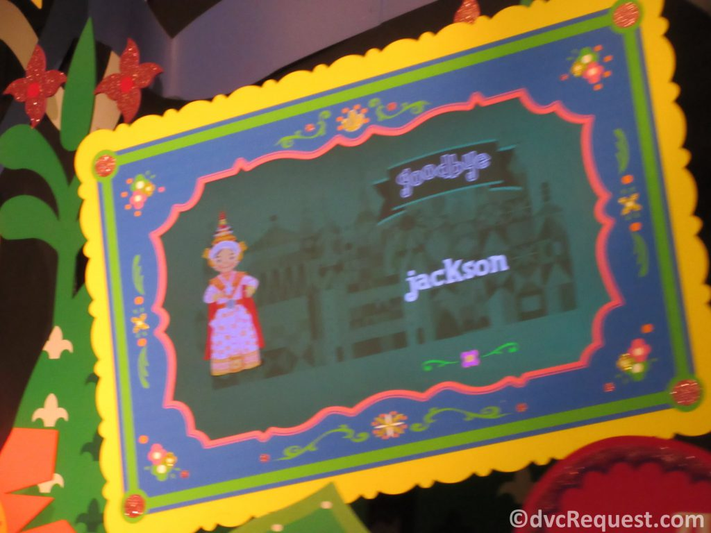 Goodbye sign from It's a Small World