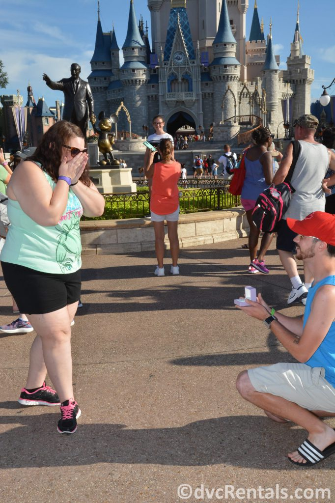 Team Member Alyssa and her now-husband proposing at WDW